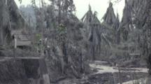 Major Damage To Village And Trees After Large Volcanic Eruption