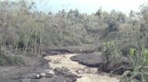 Stream Filled With Volcanic Ash Flows From Mount Merapi