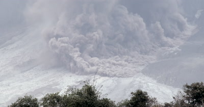 Pyroclastic Flow During Volcanic Eruption
