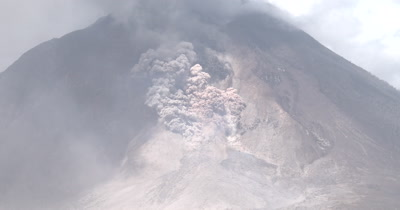 Pyroclastic Flow Forms During Volcanic Eruption