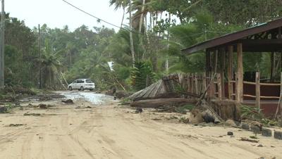 Hurricane Storm Surge Debris Covers Road