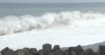 Large Waves Crash Onto Beach As Hurricane Approaches The Coast