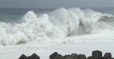 Massive Waves Break Onto Beach As Major Hurricane Nears Land