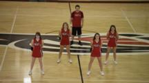 Cheerleaders Cheer On Basketball Court, Man Cheers, Girls Dance