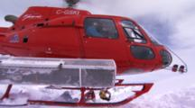 Helicopter Takes Off Leaving Skiers Behind