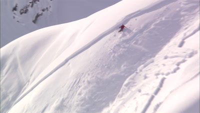 Skier Sets Off An Avalanche.