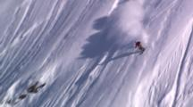 Skier Dscends Nice Steep Slope