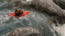 Kayaker Runs Good Small Fall And Rapids