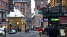 People Walking On A Busy City Street.