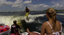Tracking A Wakesurfer Surfing Behind A Boat.