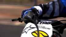 Close Up Of A Motocross Rider'S Hand Throttling The Engine.