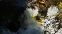 Tracking A Kayaker Paddling A Small Waterfall.