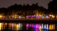Time Lapse, City Lights On Shore, Houhai At Night In Beijing, China