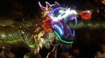 People Walk With A Big Dragon Lantern At Lantern Festival In Miaoli, Taiwan