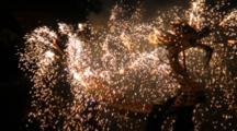 People Walk With A Big Dragon Lantern With Firework At Lantern Festival In Miaoli, Taiwan