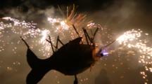 Big Lanterns With Fireworks Moving At Lantern Festival In Miaoli, Taiwan