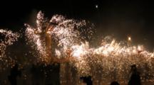 Big Dragon Lantern With Fireworks Moves At Lantern Festival In Miaoli, Taiwan