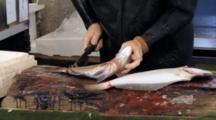 Man Kills Live Fish At Tsukiji Market In Japan