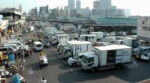 Busy Traffic, Fork Lifts, At Tsukiji Market In Japan