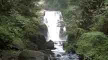 Cascading Waterfall In Forest In Urai, Taiwan