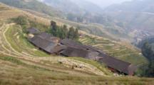 Overlook People Working At Dragon's Backbone Rice Terraces, Guangxi, Kwangsi, China