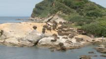 People Visit Strange Shaped Rocks At Beach In Yehliu, Taiwan