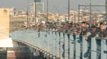 Many People Fishing On Bridge In Istanbul, Turkey