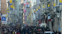 People Walking On Crowded City Street In Istanbul, Turkey