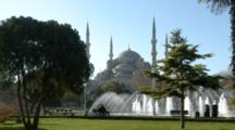 Fountain And Blue Mosque In Istanbul, Turkey