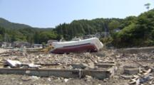 Boat Carried Onshore By Tsunami Occurred On March 11, 2011 In Japan