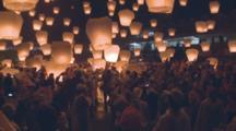 Many Lanterns Floating Up To Sky