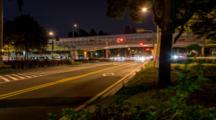 Time Lapse Traffic At Night In Taipei, Taiwan, Traffic Lights, Carpool Diamond Lane