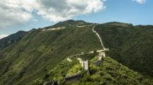 Time Lapse Clouds Move Over Mutianyu Great Wall In Beijing, China