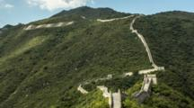 Time Lapse Clouds, Shadows Move Over Mutianyu Great Wall In Beijing, China