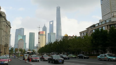 High-rise Buildings and Car Running in the Pudong New Area