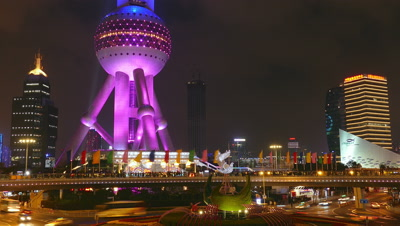 The Oriental Pearl Tower Lights up, Shanghai, China