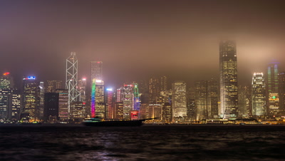 Time Lapse of Victoria Harbour, Hong Kong, China,