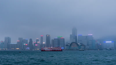 Time Lapse of Victoria Harbour from Day to Night, Hong Kong, China,