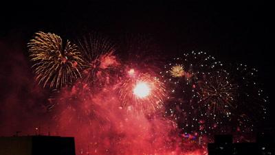 Fireworks in the Night Sky of Taipei, Taiwan