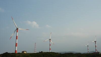 Wind Turbines Turning in the Wind, Yehliu, Taiwan