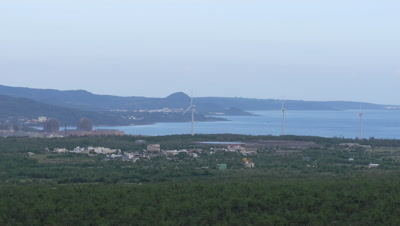 Wind Turbines and Nuclear Power Plant in Taiwan