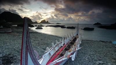 Canoe on Rocky Beach, Orchid Island, Taitung, Taiwan