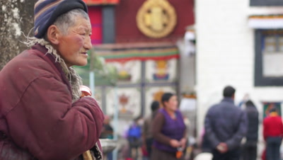 A Old Woman in Jokhang Temple, Lhasa, Tibet