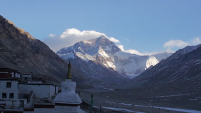 Time Lapse of Snow-capped Mt. Everest and Stupa, Tibet