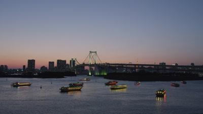 Boats floating at Tokyo Bay, Odaiba, Tokyo, Japan