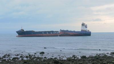 Ship Broken by Srong Typhoon, New Taipei, Taiwan