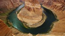 Horseshoe Bend, Arizona, Mesa And Colorado River With Emerald Green Water.