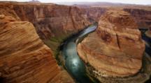Horseshoe Bend, Arizona, Mesa And Colorado River. Shot Pans Left To Right.