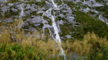 Water Falls Off Vegetated Steep Cliff, Foreground Vegetation Blows In The Wind