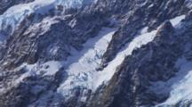 Detail Of Glaciers, Southern Alps, Rocky Peaks, Snow And Ice, Mountain Tops. New Zealand.